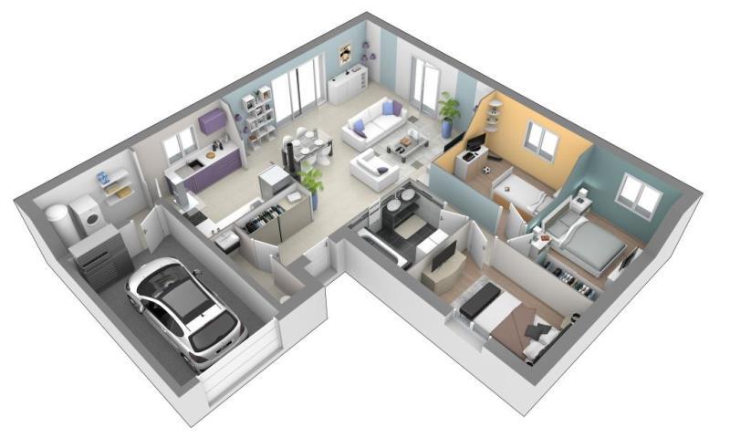 Maison plain pied 3 chambres malafretaz 01340 vente maison contemporaine et terrain bourg en for Plan maison 3 chambres et un bureau