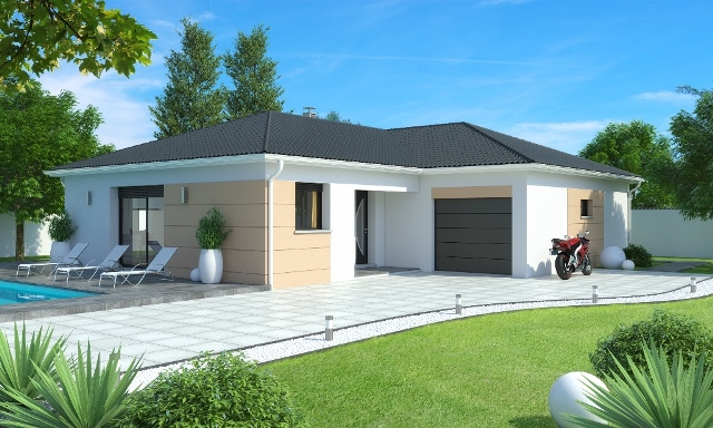 Maison plain pied 3 4 chambres construction maison plain pied aigue marine contemporaine for Plan de maison de 90m2