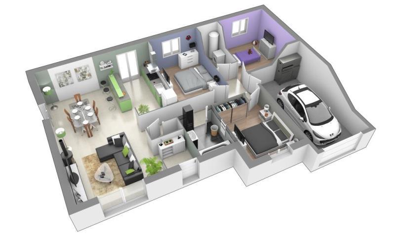 Le célèbre Plan de maison plain pied 3 chambres 3d - dicky #EV_22