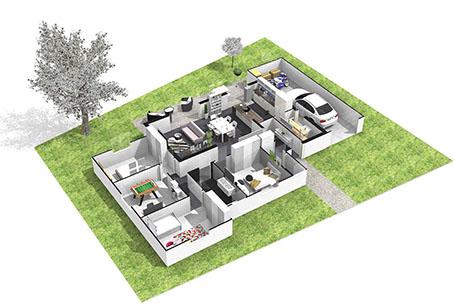 Maison plain pied 3 4 chambres construction maison plain pied julia contemporaine for Maison demi niveau toit plat
